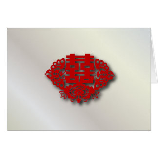 Red double happiness Chinese Wedding Card