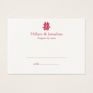 Red double happiness Chinese wedding escort card