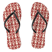 Red Double Happiness Chinese Wedding Flip Flops