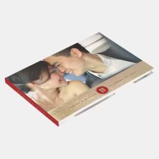 Red Double Happiness Chinese Wedding Guest Book