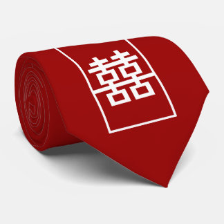 Red Double Happiness Chinese Wedding Oriental Tie