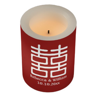 Red Double Happiness Chinese Wedding Personalized Flameless Candle