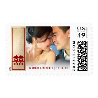 Red Double Happiness Chinese Wedding Photo Stamps