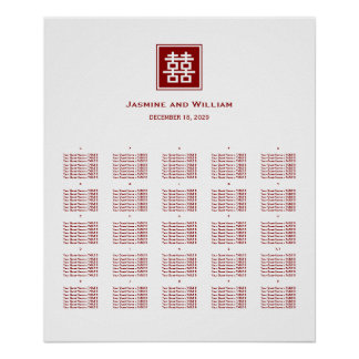 Red Double Happiness Chinese Wedding Seating Chart