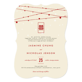 Red Double Happiness Fairy Lights Chinese Wedding 5x7 Paper Invitation Card
