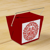 red double happiness modern chinese wedding favor box