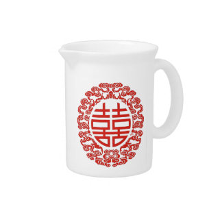 red double happiness modern chinese wedding favor beverage pitcher
