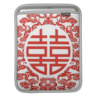 red double happiness modern chinese wedding sleeves for iPads