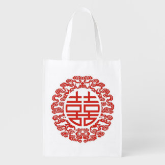 red double happiness modern chinese wedding market totes