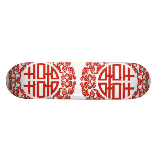 red double happiness modern chinese wedding skateboard