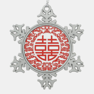 red double happiness modern chinese wedding snowflake pewter christmas ornament