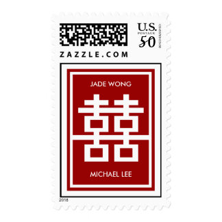 Red Double Happiness Modern Chinese Wedding Stamps