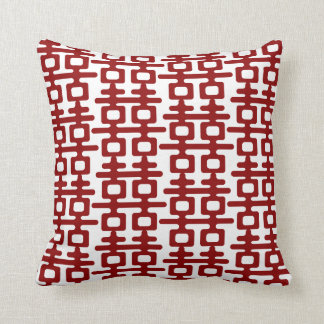 Red Double Happiness Pattern Chic Chinese Wedding Throw Pillows