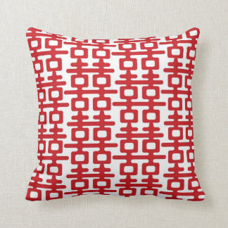 Red Double Happiness Pattern Chinese Wedding Cushi Throw Pillow