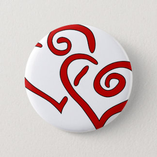 Red Double Heart Pinback Button
