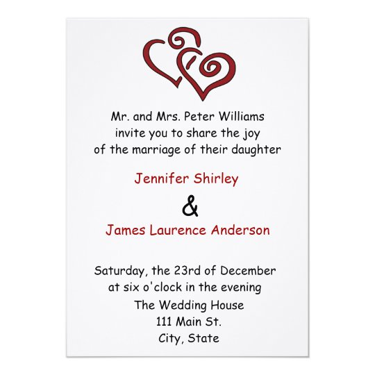 Red Double Heart Wedding Invitation