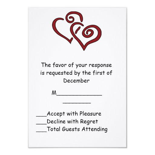 """Red Double Heart Wedding RSVP Card 3.5"""" X 5"""" Invitation Card"""