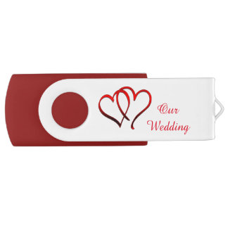 Red Double Heart Wedding USB Drive