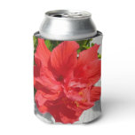Red Double Hibiscus Flower Can Cooler