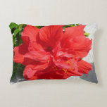 Red Double Hibiscus Flower Decorative Pillow