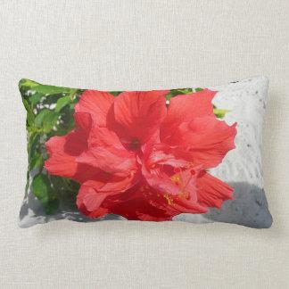 Red Double Hibiscus Flower Lumbar Pillow