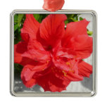 Red Double Hibiscus Flower Metal Ornament