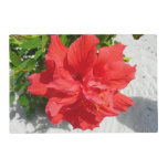 Red Double Hibiscus Flower Placemat
