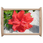 Red Double Hibiscus Flower Serving Tray