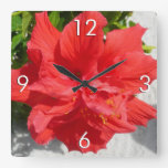 Red Double Hibiscus Flower Square Wall Clock