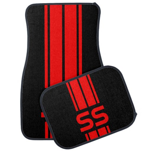 Red Double Race Stripes Personalize Car Floor Mat Zazzle