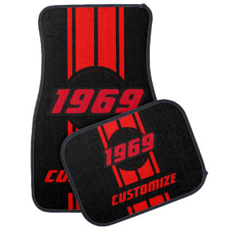 Red Double Race Stripes   Personalize Car Mat