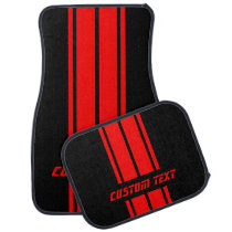 Red Double Race Stripes | Personalize Car Mat