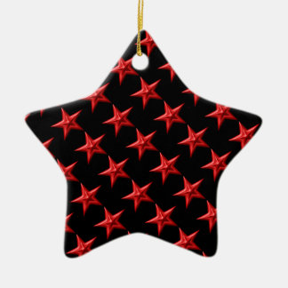 Red Double Stars Ceramic Ornament