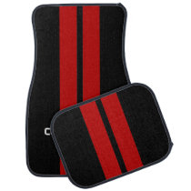 Red Double Stripe Car Mats - with custom text