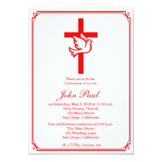 Red Dove and Cross Confirmation Invitation