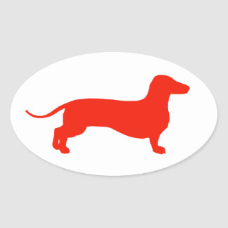 Red Doxie Oval Sticker
