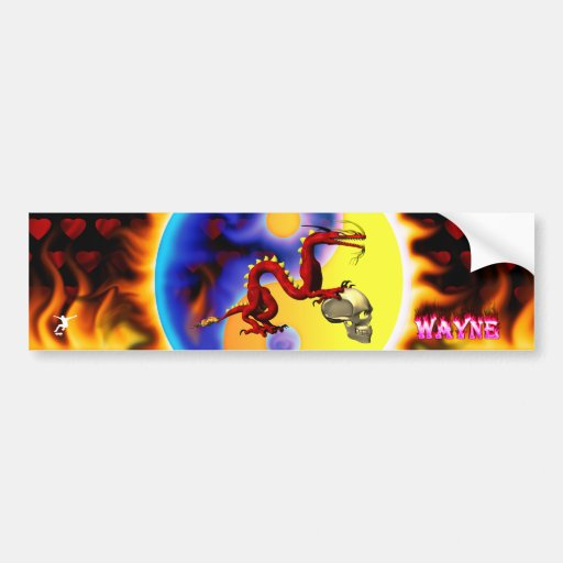 Red dragon 2 with names in pink flames car bumper sticker