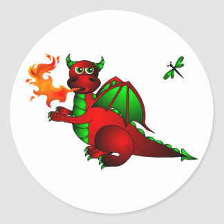 Red Dragon and Dragonfly Classic Round Sticker
