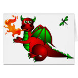 Red Dragon and Dragonfly Greeting Card