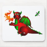 Red Dragon and Dragonfly Mouse Pad