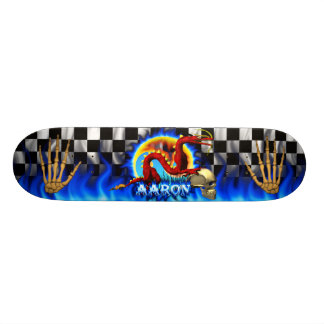 Red Dragon and Skull with name blue flame Skateboard Decks