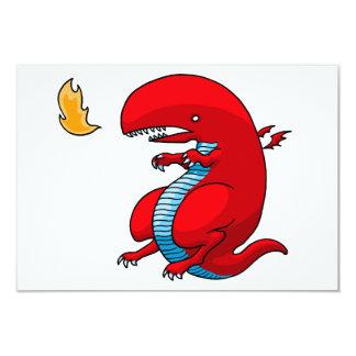 "Red Dragon Art by Third Rail Design Labs 3.5"" X 5"" Invitation Card"