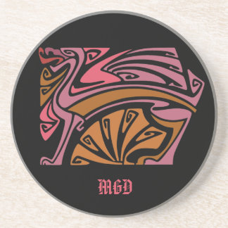 Red dragon art nouveau with monogram beverage coaster