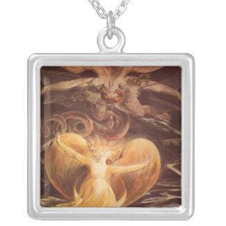 Red Dragon Art William Blake Square Pendant Necklace