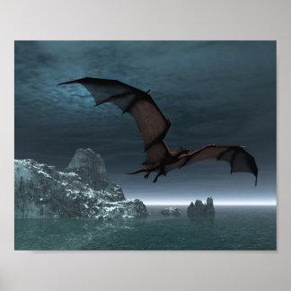 Red Dragon at Night Poster