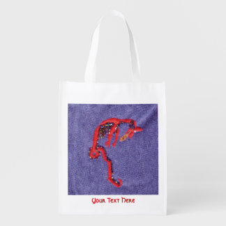 Red Dragon Beads Denim Embroidery Grocery Bag