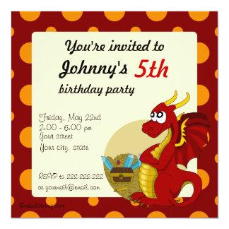 Red dragon cartoon birthday print invitations