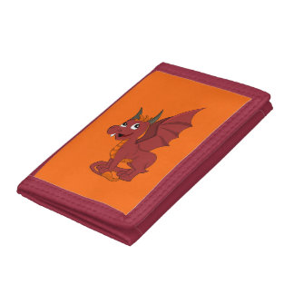 Red dragon cartoon trifold wallets