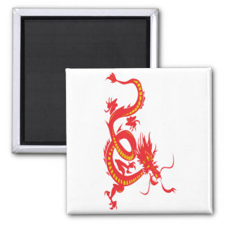 Red Dragon Chinese New Year 2 Inch Square Magnet