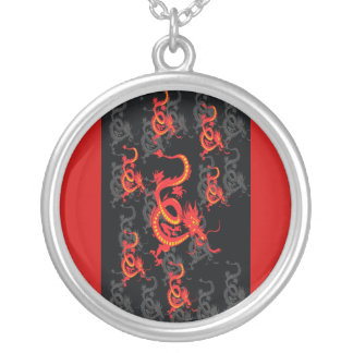 Red Dragon/Chinese New Year Round Pendant Necklace